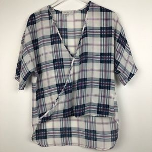 NWOT WAYF White/Navy Plaid Semi-Sheer HiLow Top -S